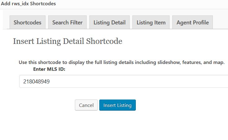 WordPress IDX Plugin Shortcode Features